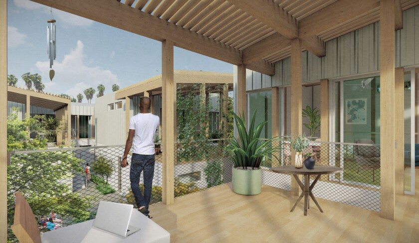 A rendering shows a man standing on a private apartment terrace that overlooks a common outdoor space