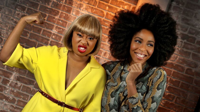 LOS ANGELES, CA., JANUARY 31, 2018-- (l) Phoebe Robinson and Jessica Williams, who are translating