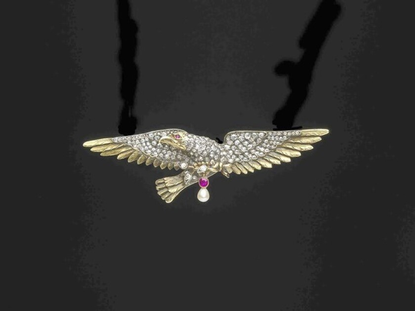 Secretary of State diamond eagle, circa 1890, is from France. It's made from yellow gold, silver, diamonds, rubies and natural saltwater pearl.