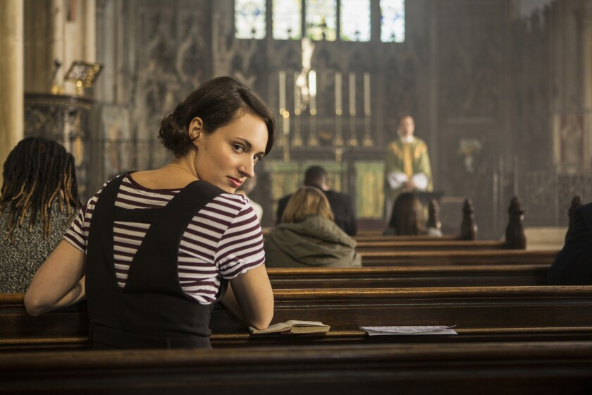 """This image released by Amazon Studios shows Phoebe Waller-Bridge in """"Fleabag."""" The program is nominated for a Golden Globe for best comedy series. (Amazon Studios via AP)"""