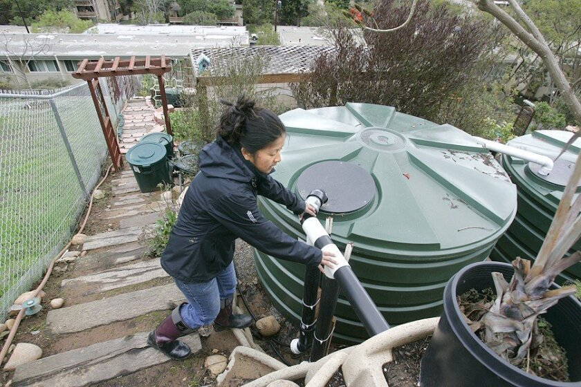 Cielo Foth of Point Loma installed two 1,100-gallon storage tanks in her backyard last year to collect rainwater for her garden. In addition to the tanks, she has since bought nine 44-gallon trash cans to increase capacity.