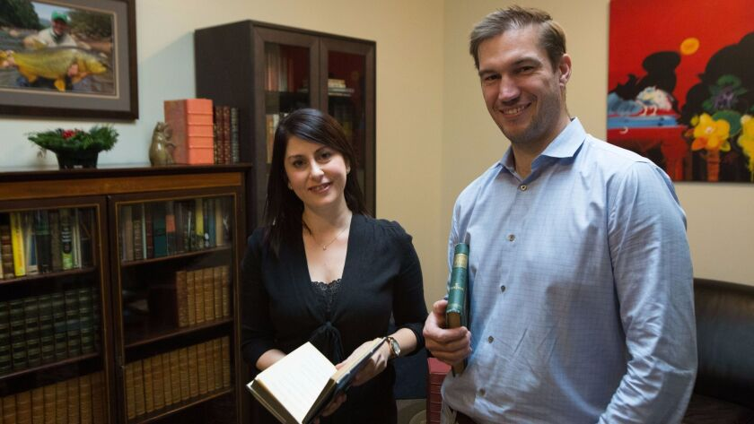 LOS ANGELES, CA-Dec . 1, 2017: Whitmore Rare Books Associate Miranda Garno Nesler (left) and owner D