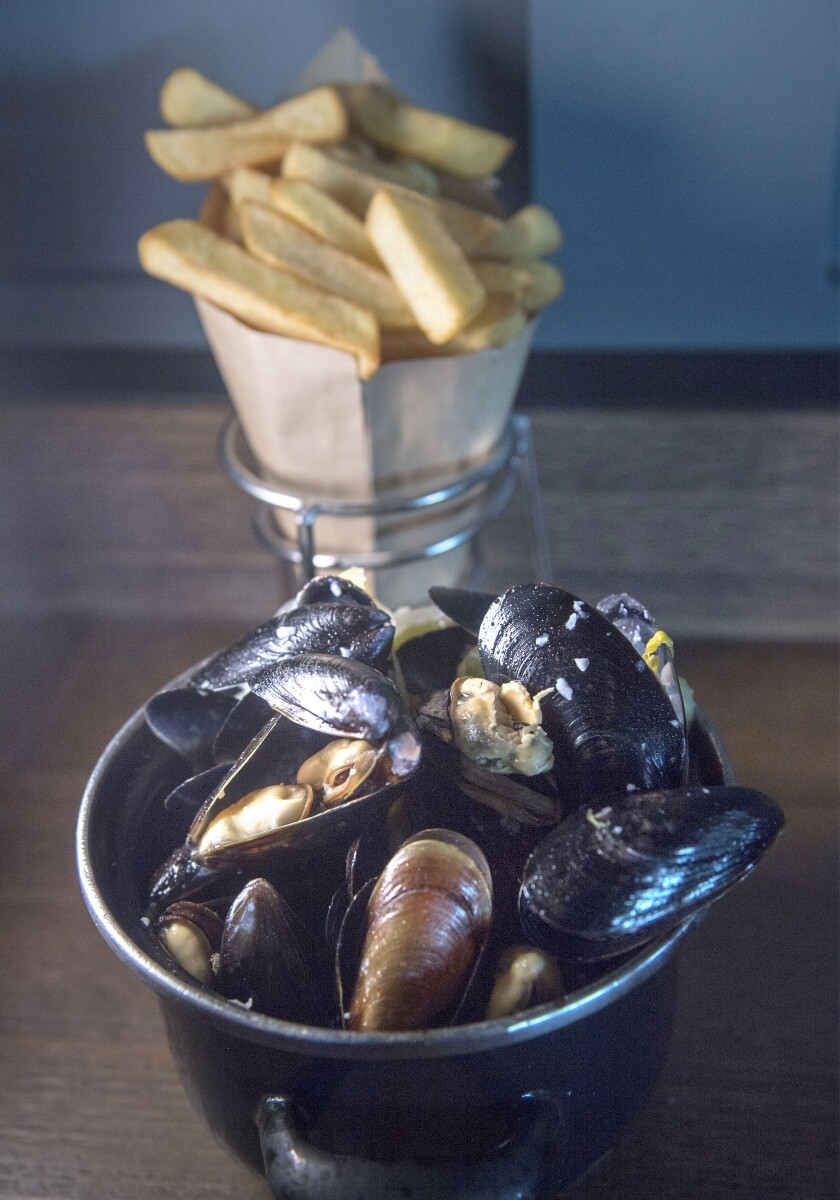 Moules frites, or mussels and fries, is the specialty at Brussels Bistro.