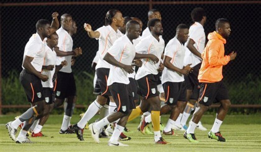 Ivory Coast's players attend a training session during the African Cup of Nations Group B, in Cabinda, Angola, Wednesday, Jan. 13, 2010. (AP Photo/Darko Bandic)