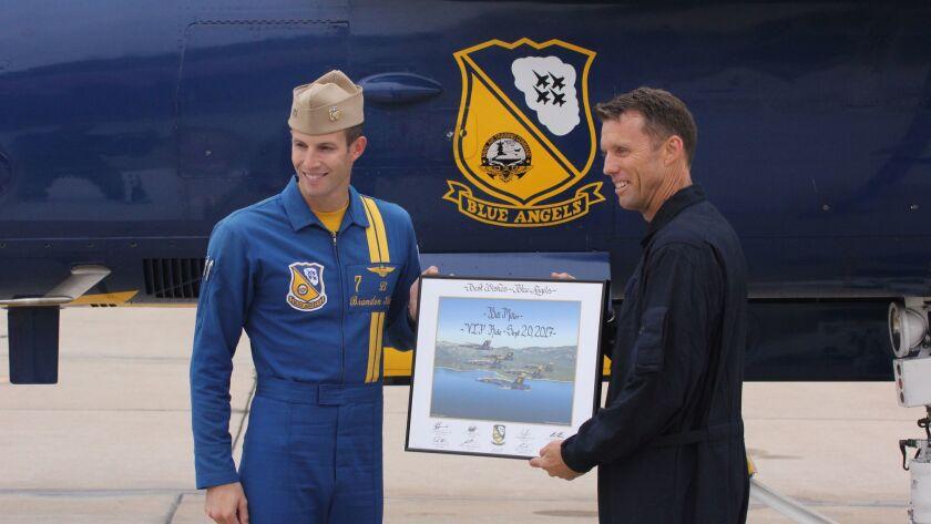 Blue Angel pilot Lt. Brandon Hempler with Bill Miller.