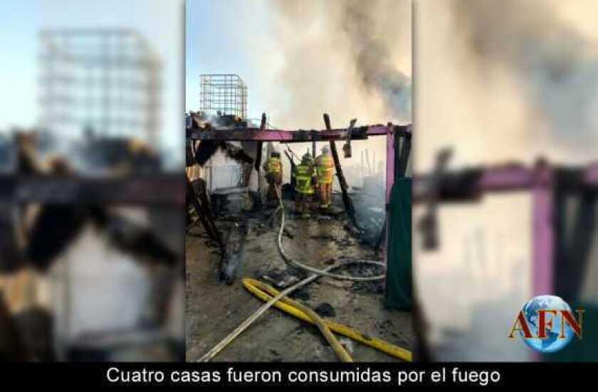 Cuatro casas fueron consumidas por el fuego