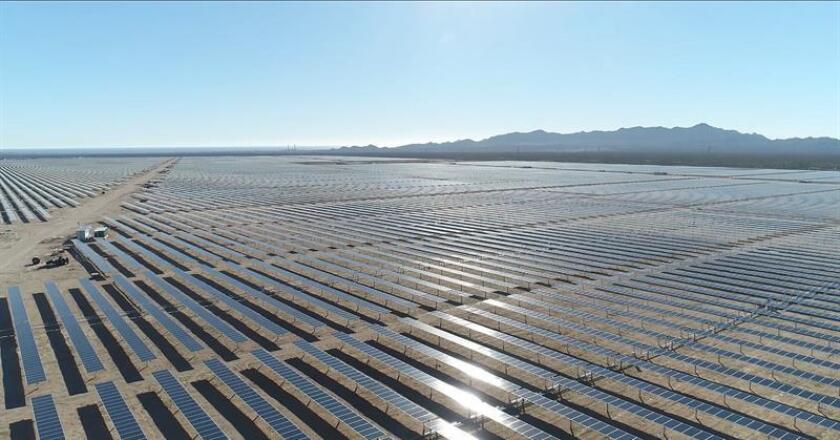 A photo provided on Jan. 10, 2019, by Acciona Energia that shows a more than 1-million-panel solar plant that the Spanish company assembled in the northern Mexican state of Sonora. EPA-EFE/ACCIONA