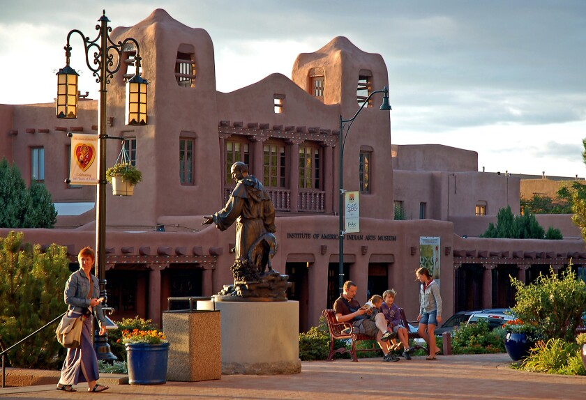SANTA FE, NEW MEXICO: A statue of 19th–century Archbishop Jean–Baptiste Lamy stands in downtown Sant