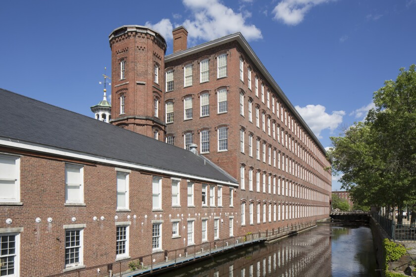 A power canal at Boott Mill, Lowell. Mass., National Historic Park.