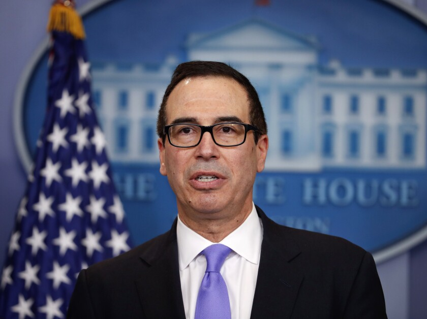 In this Feb. 14, 2017, file photo, Treasury Secretary Steven Mnuchin speaks to the media during the daily briefing in the Brady Press Briefing Room of the White House in Washington. Mnuchin said Thursday, Feb. 23, the administration is committed to getting major tax reform legislation through Congress by August. He predicted that President Donald Trump's economic proposals will be able to boost growth significantly to annual rates above 3 percent.