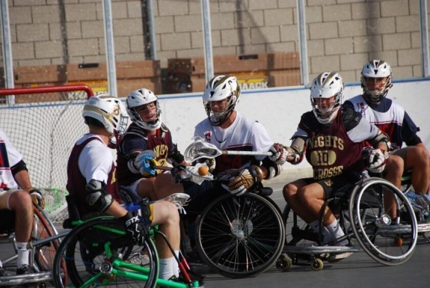 Bishop's, Torrey Pines, La Costa Canyon teams played recently in a wheelchair lacrosse tournament with members of the local Wheelchair Lacrosse Team.