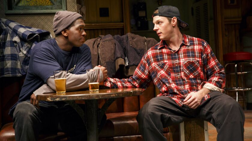 Sweat Public Theater Khris Davis and Will Pullen in Sweat, written by Lynn Nottage and directed by