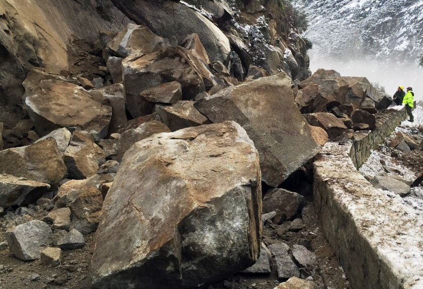 This photo shows a rockslide that closed Highway 140, one of the access routes to Yosemite National Park, on Jan. 7. More than $500 million in repairs are reportedly needed at Yosemite, some $100 million of which is considered critical.
