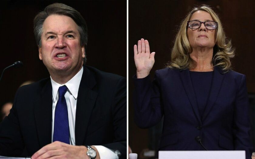 Supreme Court nominee Brett Kavanaugh (L) and Dr. Christine Blasey Ford during testimony before the Senate Judiciary Committee on Sept. 27, 2018. Ford stepped forward to claim Kavanaugh held her down during an assault at a drunken high school house party in 1982.