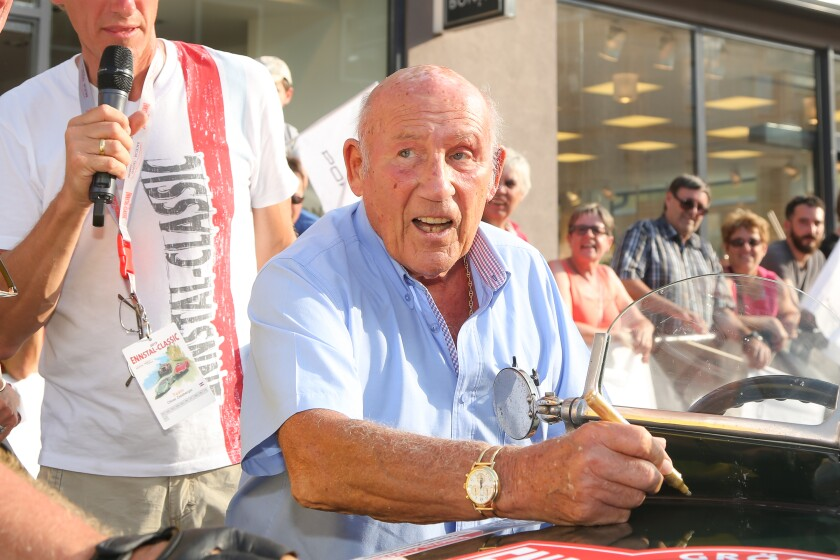 Stirling Moss at a classic-car event in Austria in July 2015.