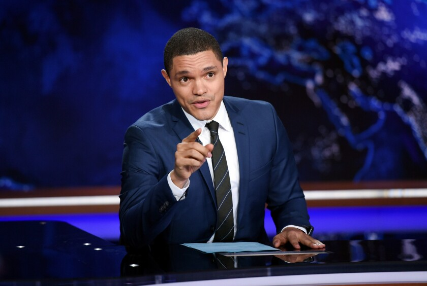 "In this Sept. 29, 2015, file photo, Trevor Noah tapes ""The Daily Show With Trevor Noah"" in New York. Noah on Thursday night called for acknowledgment of the systemic racism within law enforcement."