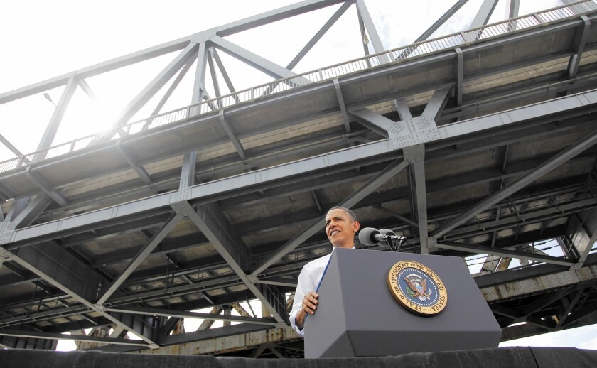 President Obama speaks in 2011 at the Brent Spence Bridge in Ohio. The 50-year-old structure is desperately in need of a $2.6-billion repair, yet neither the Kentucky nor Ohio legislatures have figured out how to come up with the money.