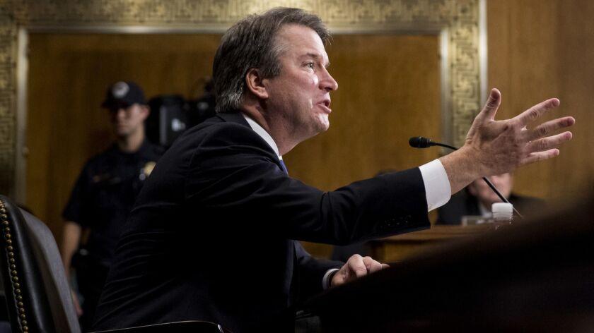 Supreme Court nominee Brett Kavanaugh testifies before the Senate Judiciary Committee on Thursday.