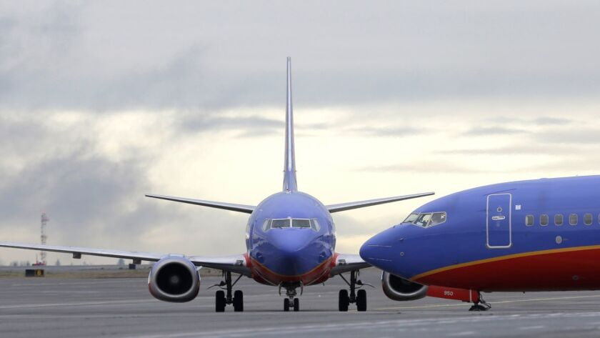 A Southwest Airlines Boeing 737 waits to taxi to a gate at Seattle-Tacoma International Airport in 2016.