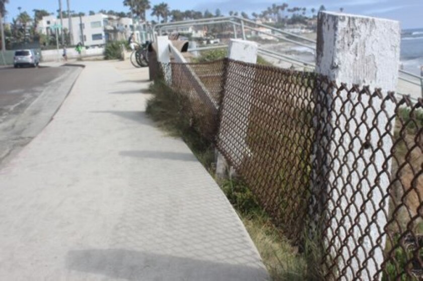 The Windansea S-Curve project would fix the posts, chains and sidewalk gaps along Neptune Place
