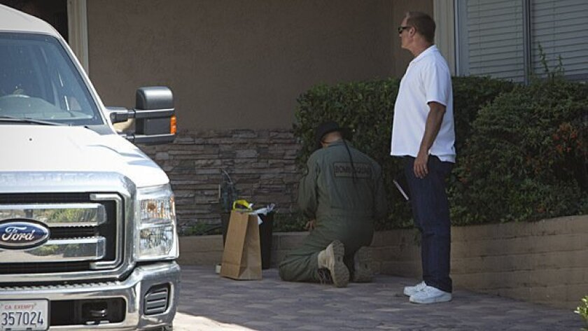 Federal Alcohol, Tobacco, Firearms and Explosives agents and San Diego Fire Department Bomb Squad members investigated the discovery of explosives at a home in Del Cerro.
