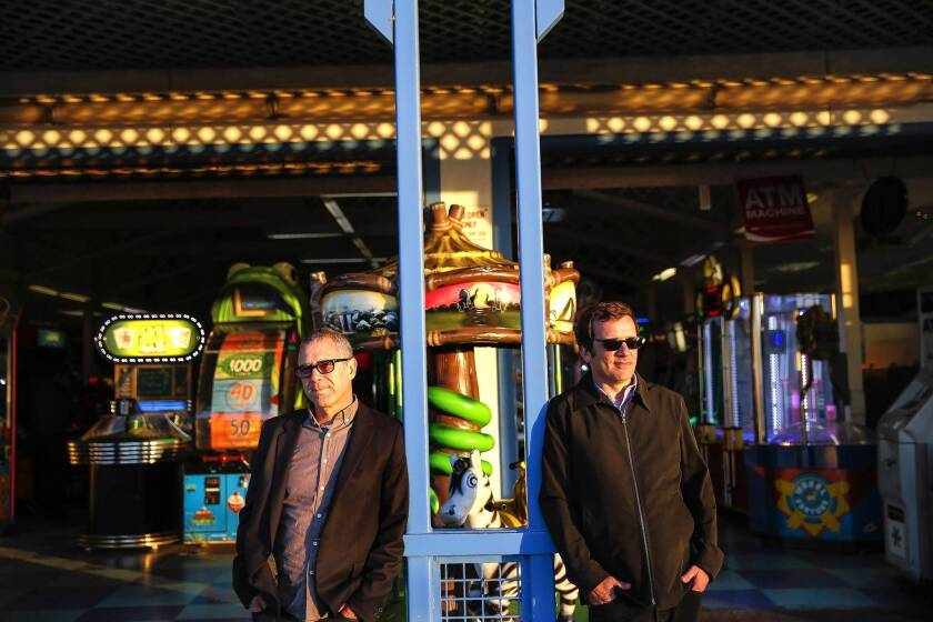 Los Angeles concert promoters Mitchell Frank, left, and Martin Fleischmann are bringing concerts and festivals to the Santa Monica Pier.