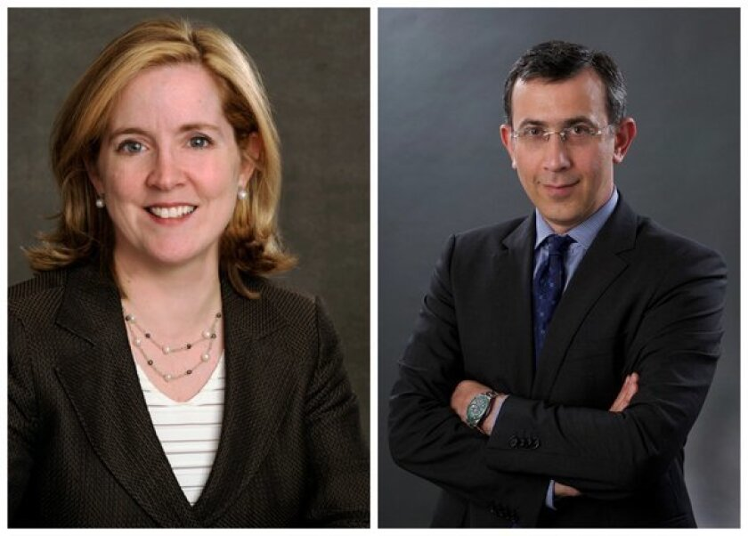 Kate O'Brian, left, has been named president of Al Jazeera America. Ehab Al Shihabi has been tapped as acting CEO.