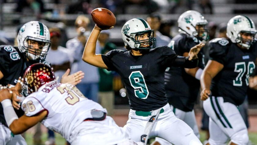 Oceanside quarterback Max Shuffer passed for 152 yards and scored the winning touchdown on a 1-yard run.