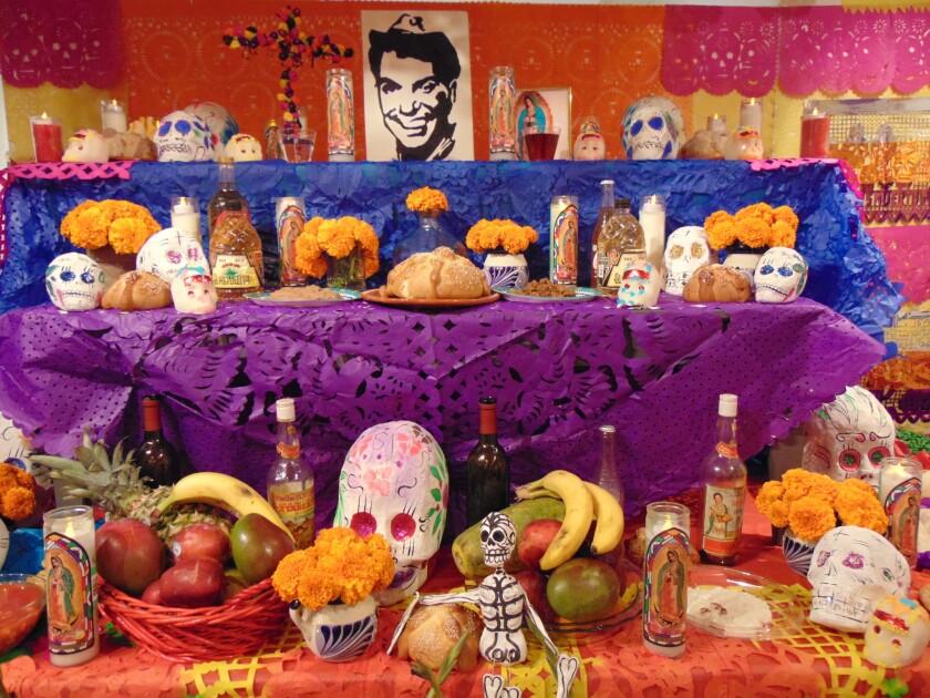 A flower altar to celebrate Dia De Los Muertos.