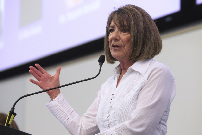 Congresswoman Susan Davis, who represents the 53rd District, speaks during the US - Iran Relations panel discussion that she hosted at San Diego State University on Saturday, Sept. 7, 2019 in San Diego.