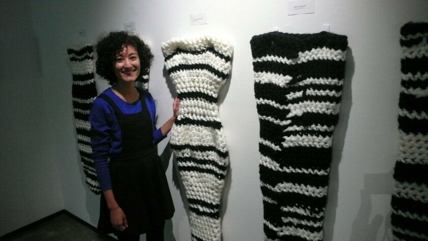 Chloe Lopez with her crochet project