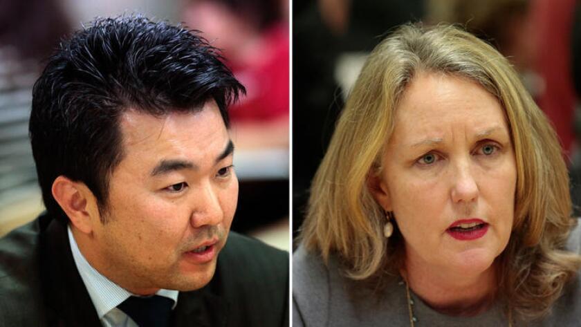Los Angeles City Council candidates David Ryu and Carolyn Ramsay.