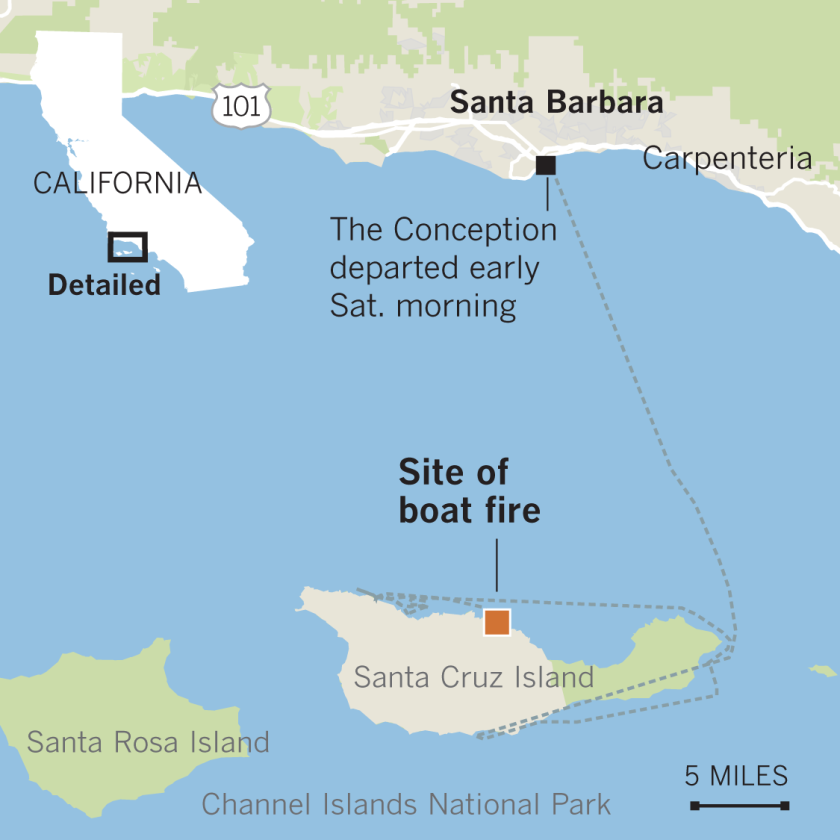 Locator map of Conception boat fire