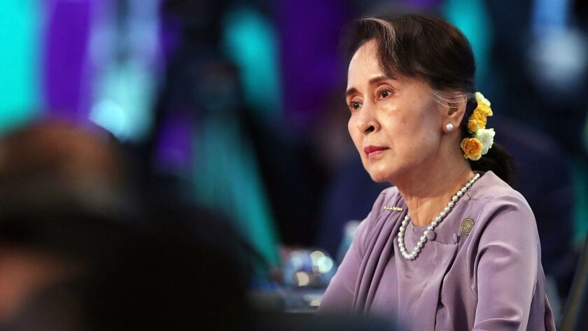 Aung San Suu Kyi, Myanmar's leader, attends the Leaders Plenary Session of the Association of Southeast Asian Nations-Australia Special Summit on Sunday in Sydney, Australia.