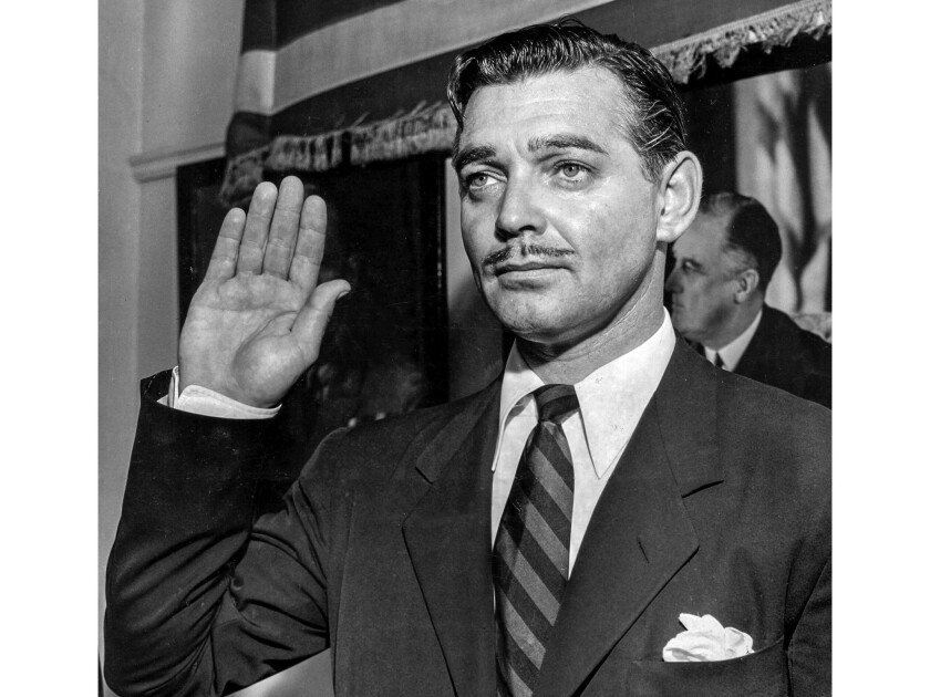 Aug. 12, 1942: Actor Clark Gable takes the oath to enlist as an Army private at the Federal Building in Los Angeles.