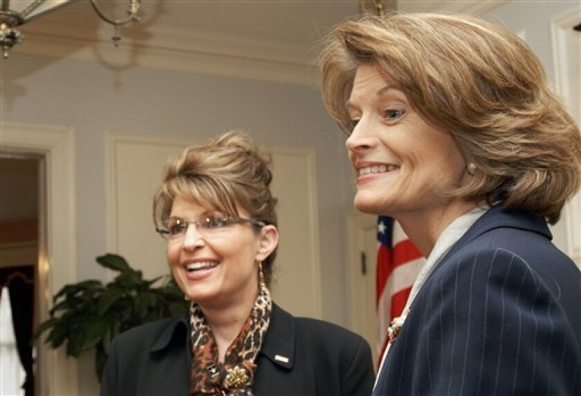 FILE - In this Tuesday, March 18, 2008 picture shows Gov. Sarah Palin, left, with U.S. Senator Lisa Murkowski, R-Alaska, in the governor's mansion in Juneau, Alaska. Palin has endorsed a challenger to incumbent Murkowski in the state's Republican primary in August 2010. Palin on Wednesday, June 2, 2010 issued her support for Fairbanks lawyer Joe Miller on her Facebook page. (AP Photo/Chris Miller)