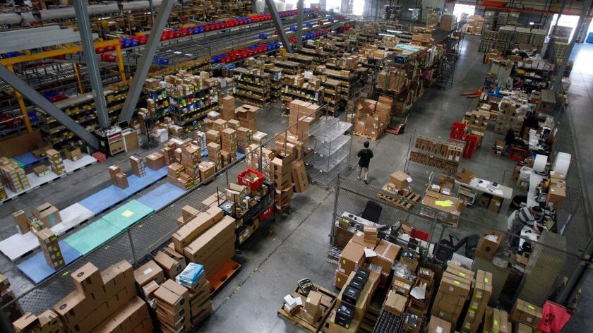 CITY OF INDUSTRY, CALIFORNIA - JULY 2, 2014: Interior of Newegg's small item warehouse as seen on Ju