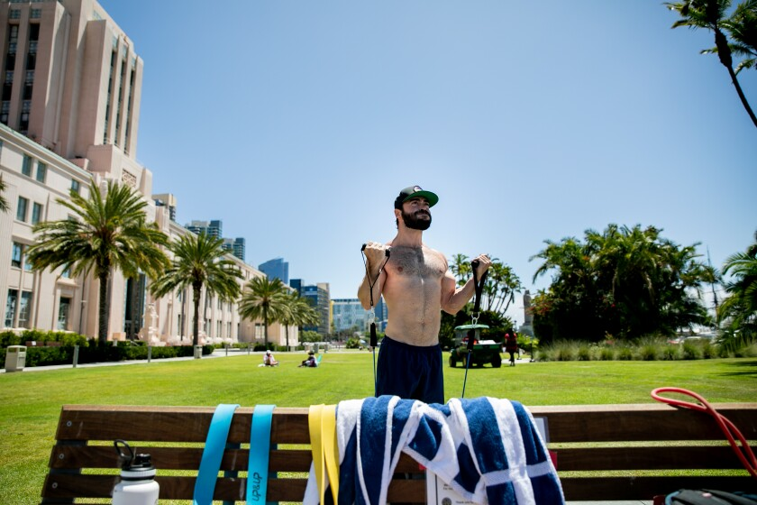 Jayson Chabrow works out at San Diego County's Waterfront Park on Wednesday.