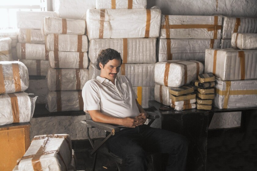 "Wagner Moura as Pablo Escobar in Netflix's ""Narcos."""
