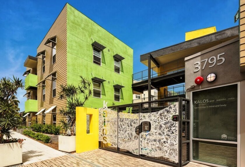Kalos, an 83-unit apartment project by Community HousingWorks, is an example of a highly designed, affordable housing project that can fit into an existing neighborhood.