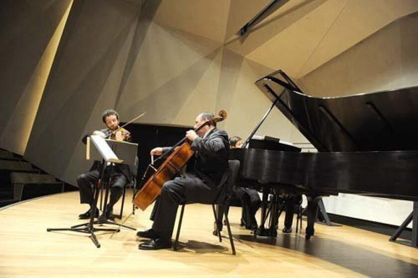 Mainly Mozart chamber musicians Steven Copes, Peter Wiley and Anna Polonsky performed last year in the auditorium formerly offered for free to the community by the Neurosciences Institute. Ken Jacques