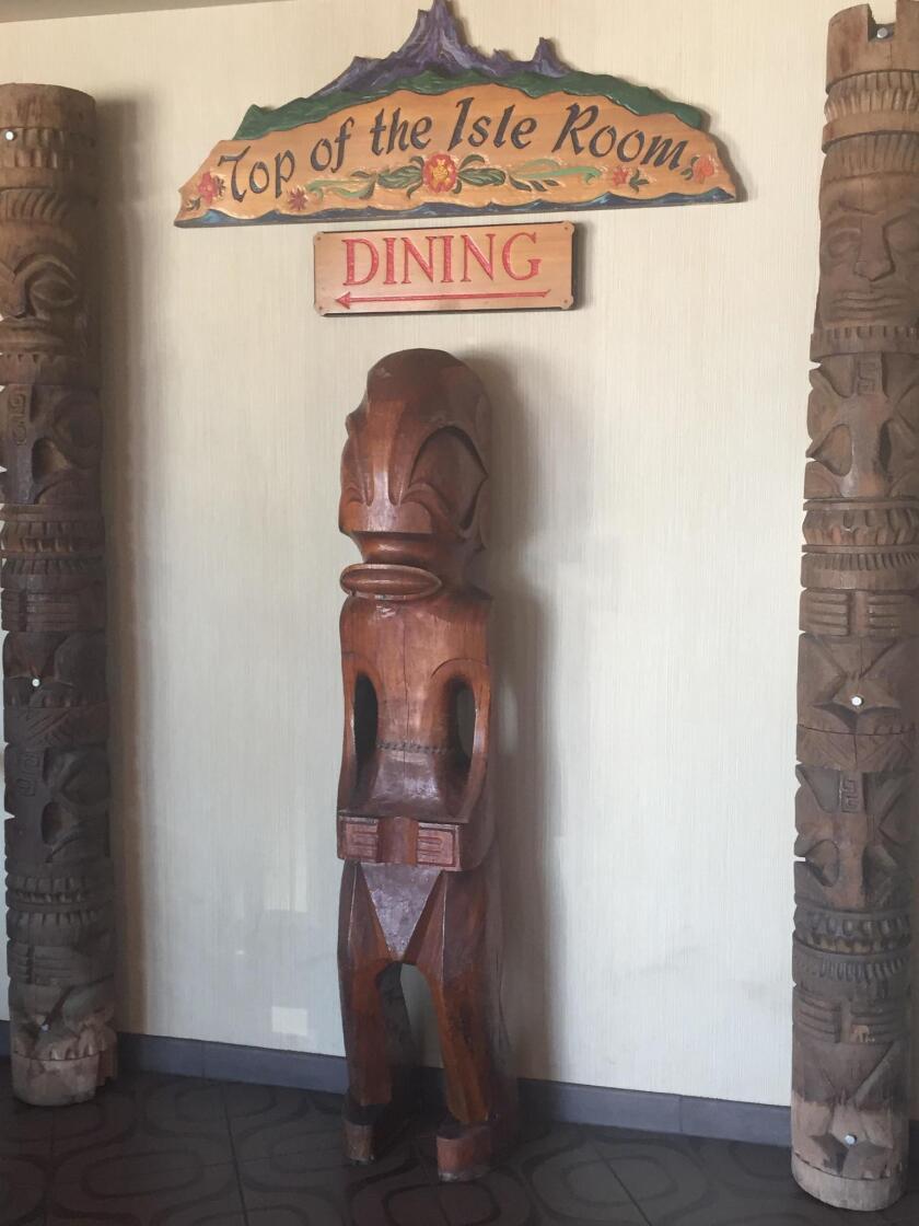 Polynesian decor fills Bali Hai restaurant.