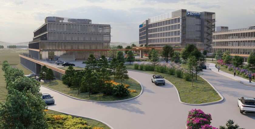 A rendering of the planned hospital complex approved by the UC Board of Regents.