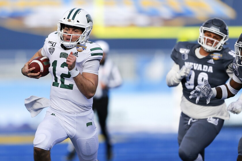 Ohio quarterback Nathan Rourke breaks away from Nevada's defense for a 35-yard touchdown run Jan. 3, 2020.