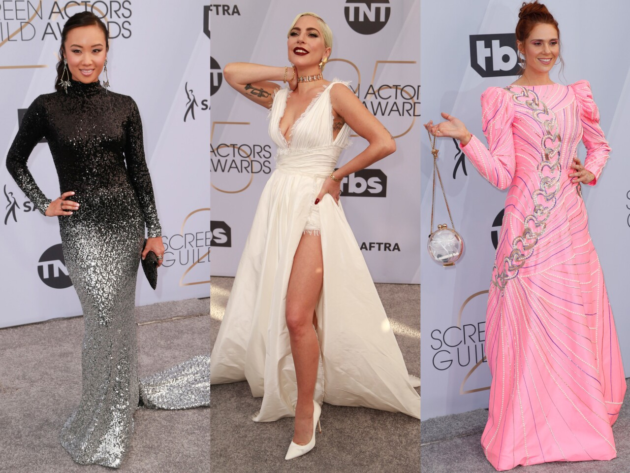"""From left: Ellen Wong of """"GLOW""""; pop star and """"A Star Is Born"""" actress Lady Gaga; and British singer and """"GLOW"""" star Kate Nash."""