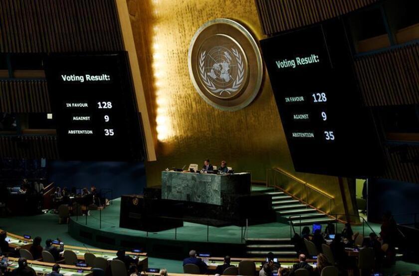 La Asamblea General de la ONU tendrá el próximo miércoles una sesión especial para analizar la situación de la población civil en Gaza y los territorios palestinos ocupados por Israel, informaron hoy fuentes oficiales. EFE/ARCHIVO