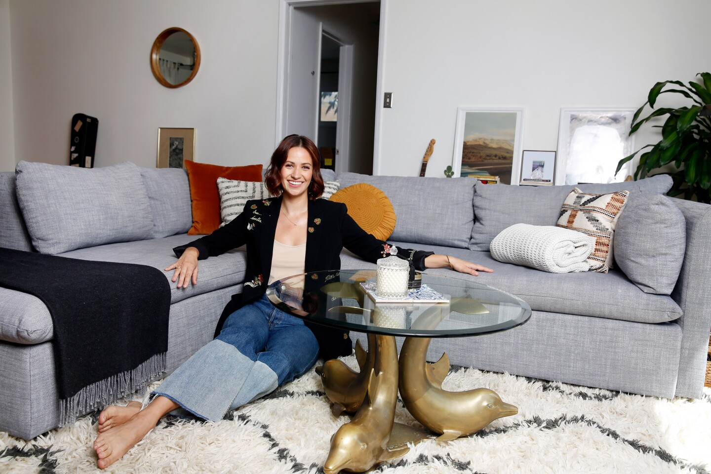 LOS ANGELES, CALIF-SEPTEMBER 17, 2019: Actress Kristen Gutoskie poses for a portrait in the living room of her Silverlake home on September 17, 2019 in Los Angeles, California. Gutoskie says this is her favorite room because the living room feels open and is a place where she spends a lot of her meditative and creative time. (Photo By Dania Maxwell / Los Angeles Times)