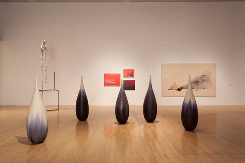 """The exhibition """"Facing the Sublime in Water, CA"""" includes Mineo Mizuno, foreground, """"Teardrop -- Winter Nos. 1-5,"""" 2012. Works by Charles Long and Whitney Bedford in background."""