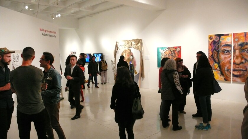 """Opening night for the exhibit """"Making Communities: Art & The Border,"""" March 3 at University Art Gallery (UAG) on UC San Diego campus."""