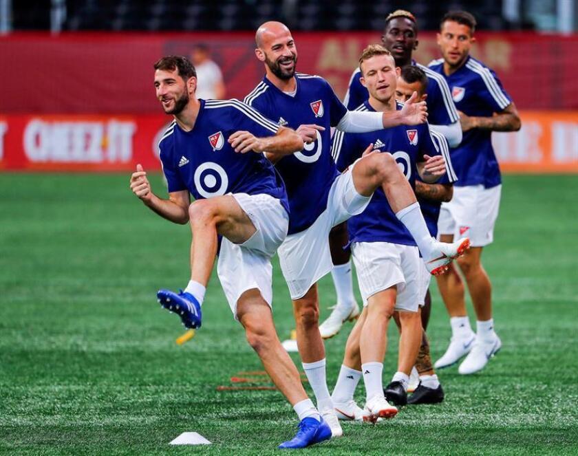 Jugadores del MLS All-Stars participan en una sesión de entrenamiento de equipo de cara al partido amistoso contra el Juventus en el Estadio Mercedes-Benz, en Atlanta, Georgia (EE.UU), hoy, 31 de julio de 2018. El partido entre el Juventus y el MLS All-Star se disputará el próximo miércoles 1 de agosto. EFE